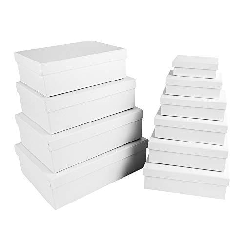 scatole regalo con coperchio | di cartone robusto | set da 10 | 10 misure diverse l'una nell'altra, da grandi a piccole | ideale per compleanno e matrimonio | rettangolare | da 8,5 a 24 cm