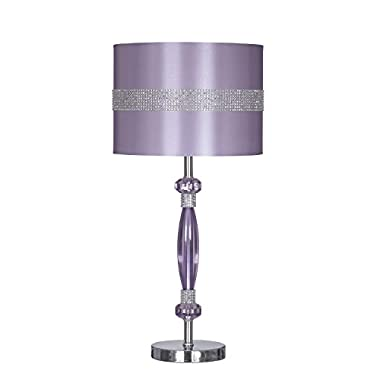 Signature Design by Ashley L801524 Nyssa Table Lamp with Drum Shade, 11.0  x 11.0  x 23.75 , Purple and Silver Finish