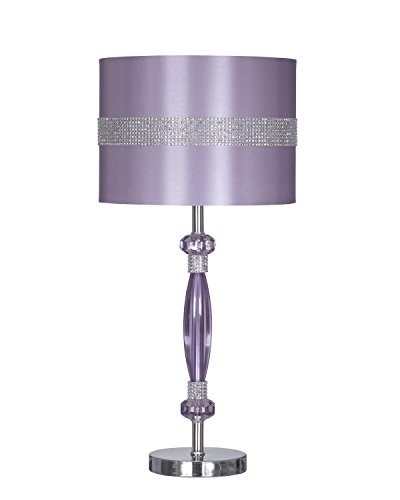 Ashley Furniture Signature Design - Nyssa Table Lamp with Drum Shade - Rhinestone Accents - Purple & Silver Finish