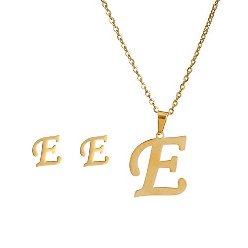 Fineday Fashion Women Gift 26 English Letter Name Chain Pendant Necklaces Earring Set Je, Necklaces & Pendants, for Christmas Day (E)