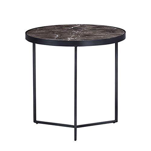 Table de lit, Table de marbre Table d'appoint en marbre avec Cadre en métal, Salon Tables à la Chambre, Rond Petite Table Basse Table Basse Couleur: Noir, Taille: 19.8819.88in