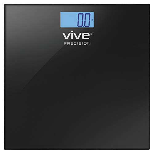Vive Precision Digital Bathroom Scale - Heavy Duty Electric Body Weight Measuring Device - Home Bath Scale, Easy to Read, Backlit Display - Accurate Dietary Weighing (Black)