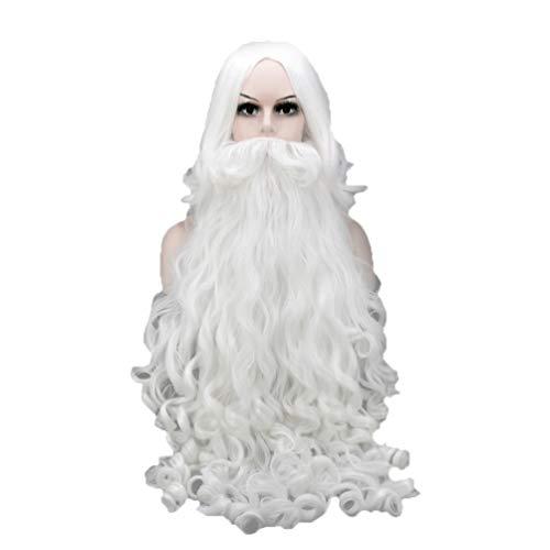 Happyyami 1 Satz Santa Perücke Weihnachtsmann weiß lebendigen Bart Kopfschmuck Cosplay Stütze für Leistung Weihnachten