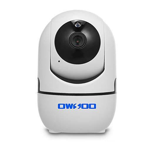 OWSOO 1080P WiFi-Kamera Drahtlose IP-Kamera Babyphone mit Bewegungserkennung Verfolgung Sprachalarm 2-Wege-Audio Nachtsicht TF-Karte Cloud-Speicher für Baby Store Office Pet Elder Monitoring