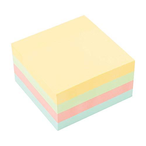 D.RECT 009262 Haftnotizwürfel Super Sticky Notes Selbstklebende Haftnotizzettel in 75x75mm 450 Blatt Pastellfarben