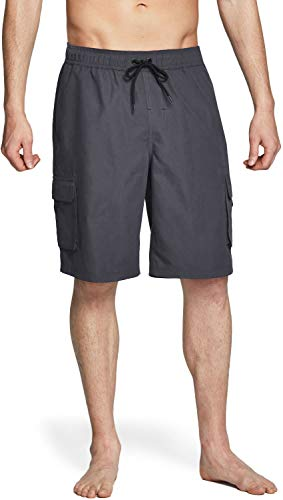 TSLA Men's 11 Inches Swim Trunks, Quick Dry Beach Board Shorts, Bathing Suits with Inner Mesh Lining and Pockets, C Two Side Pocket(msb01) - Dark Grey, 3X -Large