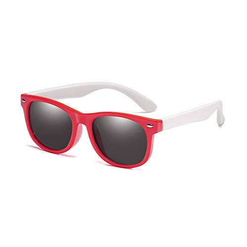 Gafas de sol deportivas, gafas de sol vintage, Children Polarized Sunglasses TR90 Baby Classic Fashion Eyewear Kids Sun Glasses Boys Girls Sunglasses UV400 Oculos Red-White