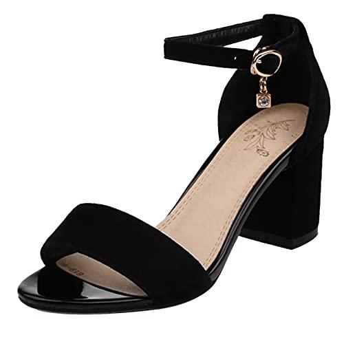 EveKitty Donna Moda Tacco Medio Sandali con Cinturino alla Caviglia Festa Vestito Scarpe Tacco a Blocco Sandali Black Size 33 Asiatico