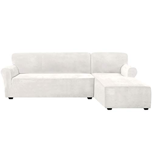 Rich Velvet Stretch 2 Pieces L-Shaped Sofa Covers Anti-Slip Sectional Sofa Slipcovers with Straps Bottom Luxury Thick Velvet Corner Sofa Cover(X-Large Size=Right Chaise with 3 Seater, Ivory)
