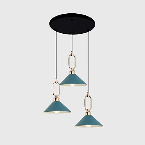 Luces Colgantes Macaron Color LED Redondo Techo 3 Lámparas Araña Moderna para cafetería Restaurante Tienda de Ropa Iluminación Interior (sin Bombilla)-Azul Fantastic