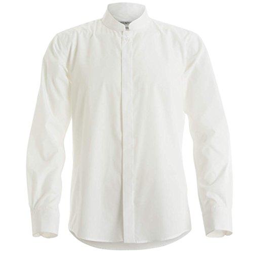 Kustom Kit - Camisa entallada de manga larga con cuello chino / mao Hombre Caballero - Trabajo/Fiesta/Verano (Grande (L)/Blanco)