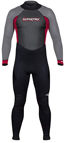 Hyperflex Men's and Women's 3mm Full Body Wetsuit – SURFING, Water Sports, Scuba Diving, Snorkeling - Comfort, Flexible and Anatomical Fit - and Adjustable Collar, Black/Red, L (XA832MB-05-L)