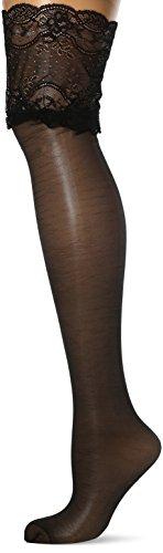 Palmers Damen Wide Lace Stay-Up Halterlose Strümpfe, 20 DEN, Schwarz (Schwarz 900), 36 (Herstellergröße: S)
