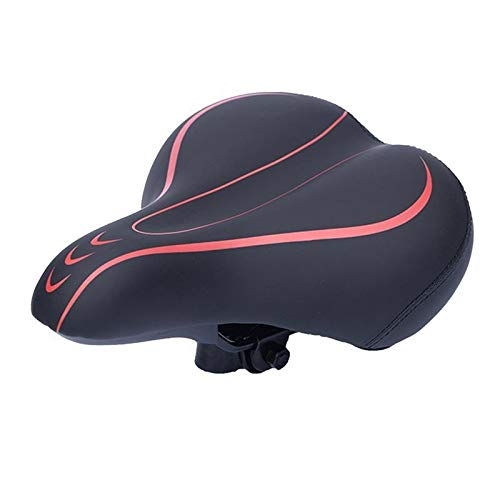 AYUYU Men's and Women's Simple Bicycle Seat Cushion, Comfortable, Shock-Absorbing and Waterproof Leather (Color : Rojo)