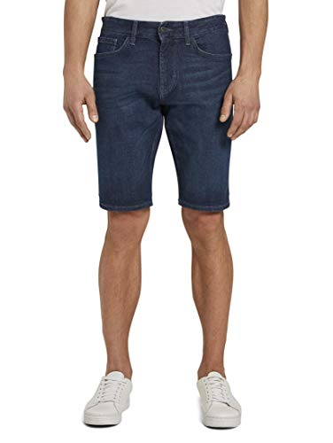 TOM TAILOR Herren Jeanshosen Josh Regular Slim Jeans-Shorts mit Superstretch Dark Stone wash Denim,32,10282,6000