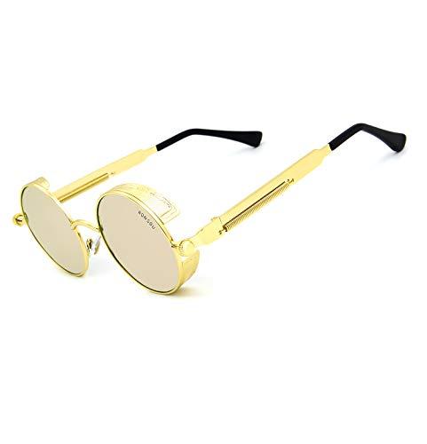 RONSOU Steampunk Stil Rund Vintage Polarisiert Sonnenbrillen Retro Brillen UV400 Schutz Metall Rahmen gold rahmen/rosa linse