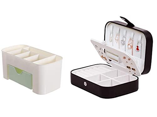 Recet Joyero de viaje, joyero portátil con espejo, joyero para collares, pulseras, anillos, pendientes (B)