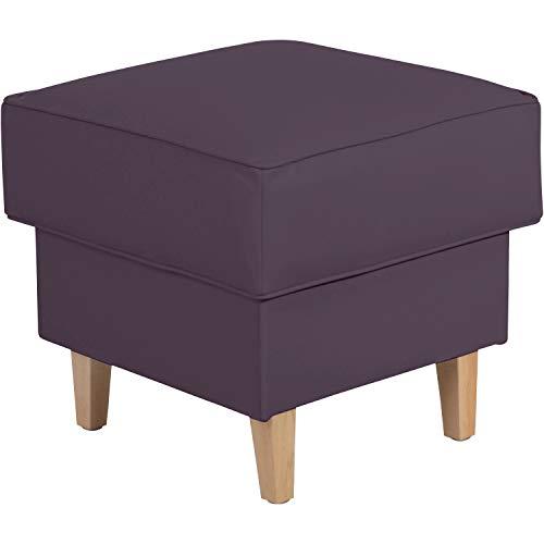 Max Winzer® Hocker Lorris, violett (lila), Kunstleder, Retro, romantisch, Landhaus, passend zum Sessel Lorris, 53 x 53 x 45 cm