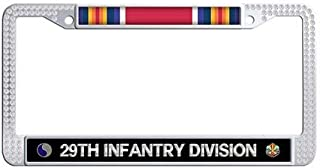 29th Infantry Division WW2 Veteran Service Ribbon License Plate Frame White Rhinestones Car Tag Frame