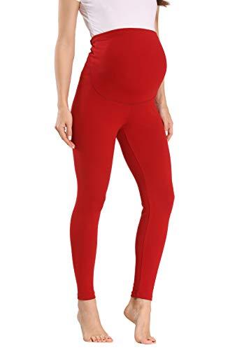 Vocni Women's Maternity Leggings Comfortable Maternity Cotton Leggings Full Ankle Length Pregnancy A#- Red Small