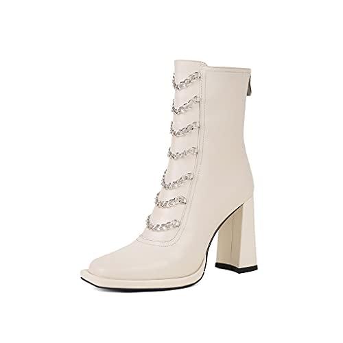 aanieshoeya Stivali Donna Vera Pelle Eleganti Bassi Moda Boots Tacco Alto Autunno Beige 39CN 38EU 24.5cm
