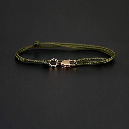 Dezentes Armband für Herren - edles Wickelarmband für Männer Minimalistisch - stufenlos verstellbar mit Karabiner-Haken Gold (Grün)