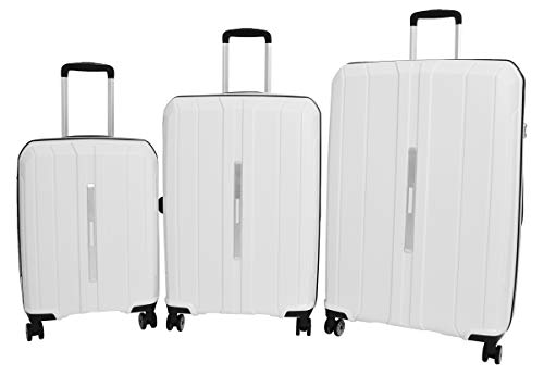 Durable 4 Wheel Suitcases Hard Shell Luggage Expandable TSA Lock Zipped Travel Bags HLG830 White (Full Set (Cabin+Medium+Large))