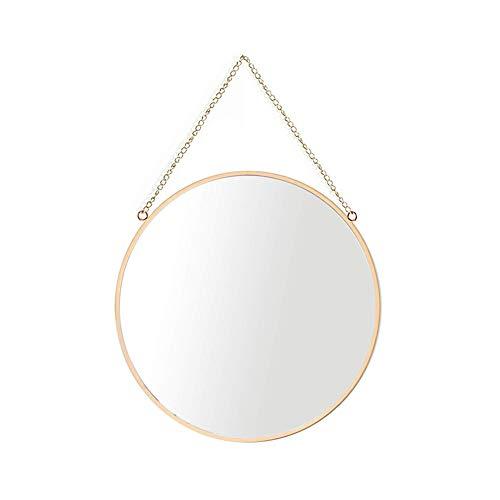 AIFUSI 30x30cm Runden Spiegel Wandspiegel, handgefertigter Badspiegel Facettenspiegel Vintage Dekoration, Messingende mit hängender Kette, mittlere Größe