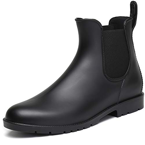 SAGUARO Damen Kurzschaft Stiefel Gummistiefel Gummistiefeletten Regenstiefel Chelsea Boots, New Schwarz 35