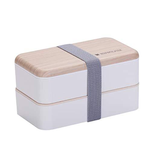 Nachhaltige Lunchbox 1L,3 in 1 Aufbewahrungsbox mit Deckel, Brotdose Vesperdose Besteck und Trennwand im Bento-Box Stil mit Zwei Fächern. Biologisch abbaubar, BPA frei, auslaufsicher (Weiß)