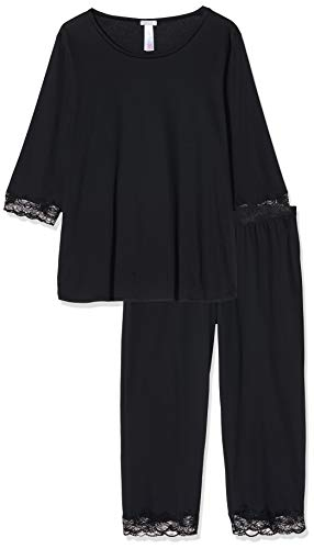 HANRO Damen Zweiteiliger Schlafanzug Valencia NW/Pyjama, Schwarz (Black 0019), 46/48