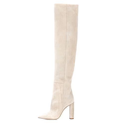 HNMS Boots Damen Overknee Stiefel Wildleder Oberschenkel Hoch Stiefe über das Knie Stiefeletten Schenkel-hohe Stiefel Beige Blockabsatz Spitz Kleid Stiefel Größe EU 35-46,Beige,EU42/UK8