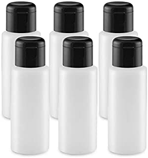 PEXALE 6 Pack of 2OZ Empty Shampoo/Liquid Traveling Bottles with Black FLIP-TOP CAPS (TM) (6, Black caps)