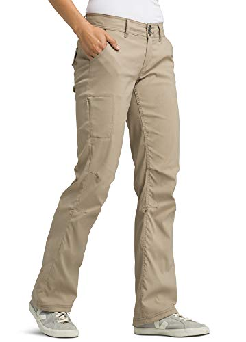 prAna - Women's Halle Roll-Up, Water-Repellent Stretch Pants for Hiking and Everyday Wear, Short Inseam, Dark Khaki, 4