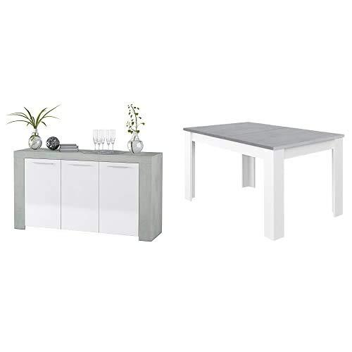 HabitdesignAparador Comedor Buffet + 0L4586A - Mesa De Comedor Extensible, Mesa Salón O Cocina, Acabado En Color Blanco Artik Y Gris Cemento, Modelo Kendra