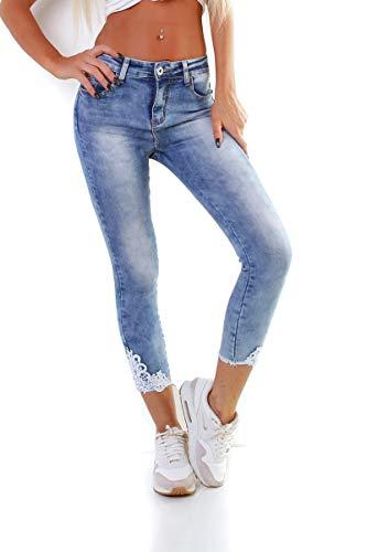 OSAB-Fashion 11099 Damen Jeans Hose Röhre Skinny Stretch Denim Spitze Slimfit Übergrößen