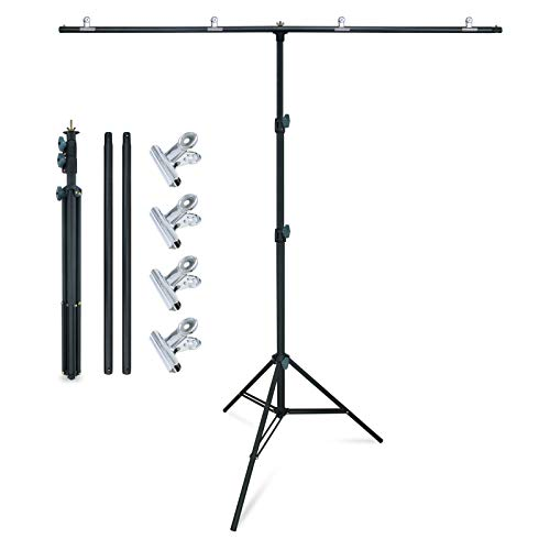 LINCO Lincostore Zenith Portable T-Shape Background Backdrop Stand Kit 5x6.7ft - 5ft Wide (Fixed) and 6.7ft High (Adjustable)- Lightweight Only 4 Lbs Easy to Carry and Storage