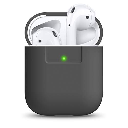 elago Funda Silicona Compatible con Apple AirPods 1 & 2 (LED Frontal no Visible) - Soporta Carga inalámbrica, Extra Protección (Gris Oscuro)