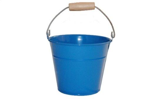 1 Stück Metalleimer für Kinder Metall Eimer blau Kindereimer Uni einfarbig