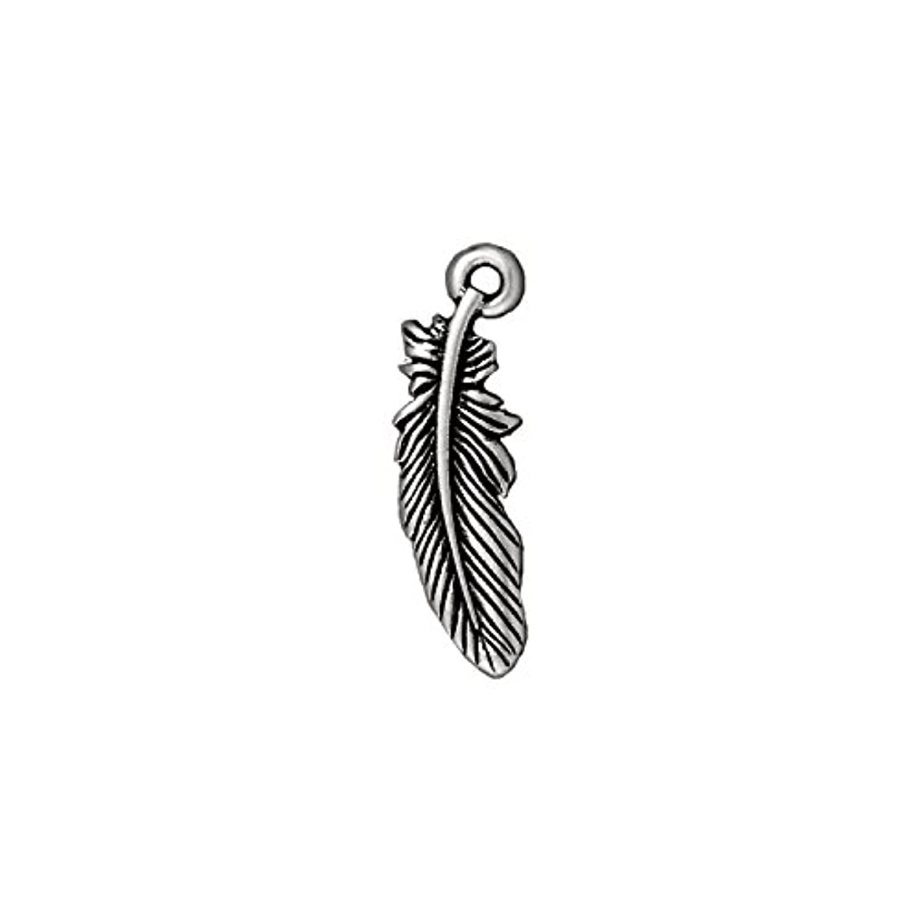 TierraCast Charm Feather, 23mm, Antique Fine Silver Plated Pewter, 4-Pack