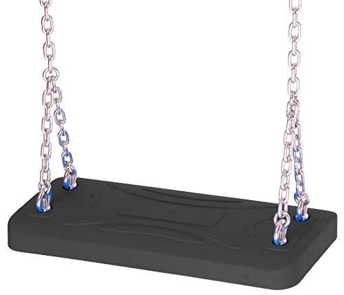 OTITU Just Fun Lux - Silla columpio (+ Logo) con juego de cadenas de acero galvanizado 5 mm - 1,8 m, uso público - Negro