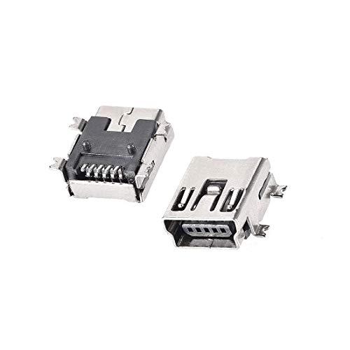 N/D 30 piezas Mini USB Hembra Conector Jack Port, 5 pines Dip 180 grados, adaptador de repuesto
