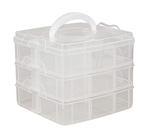 Rayher Caja clasificada con asa, Surtido, 15,5x15,5x12,9 cm, 3x6 compartimentos