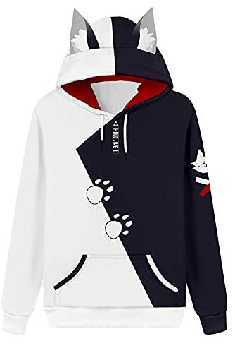 Abrigo con capucha con capucha, chaqueta con capucha, sudadera anime, unisex, manga larga, con capucha, Hololive English Vtuber Ookami A/blanco, L (contorno del pecho 118 cm)