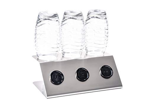 Streambrush First Class Abtropfhalter aus Edelstahl Abtropfständer für Sodastream Crystal - Flaschenhalter mit praktischer Deckelhalterung | Made in Germany (3 X Class)