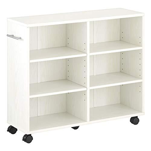 ぼん家具 収納 カート 本棚 キャスター付き 隙間 木製 取っ手付き 押し入れ ワゴン 〔幅26cm〕 ホワイト