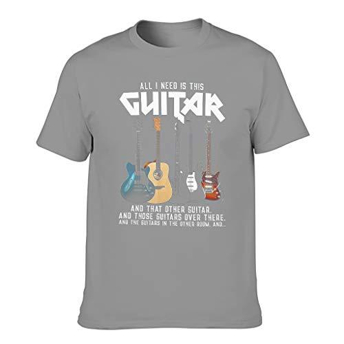 Lässig - Camiseta para hombre con diseño de guitarra y guitarra Gris oscuro. M