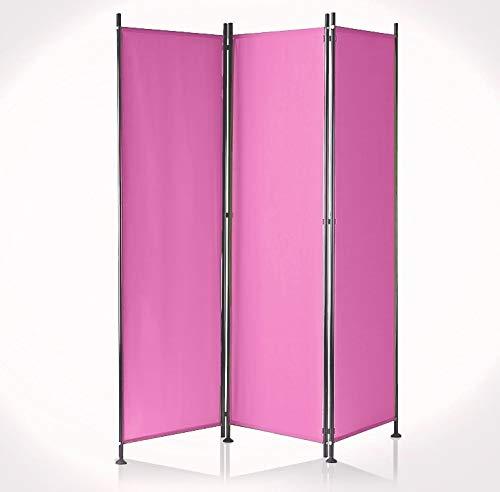IMC Paravent 3-teilig pink Raumteiler Trennwand Sichtschutz, faltbar/flexibel verstellbar, wetterfester Polyester-Stoff, Schwarze Metallstangen
