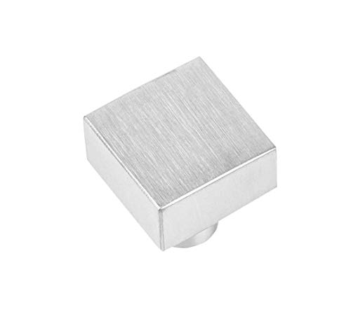 Gedotec Schubladen-Knopf eckig Küchen-Knöpfe Edelstahl Möbelknöpfe markant - H10065 | Türknopf für Schränke | Knopf 25 x 25 mm | Vollmaterial massiv rostfrei | 1 Stück - Moderner Kommoden-Knopf