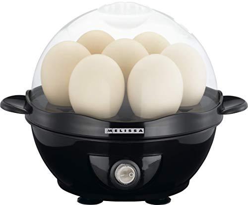 Melissa 16270021 Eierkocher Ideal für bis zu 7 Personen,7 Eier,Summer Signalton, schwarz, Ein-Ausschalter